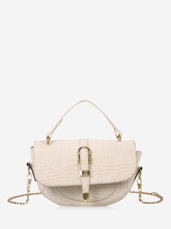 women Textured Chain Saddle Hand Bag - WHITE