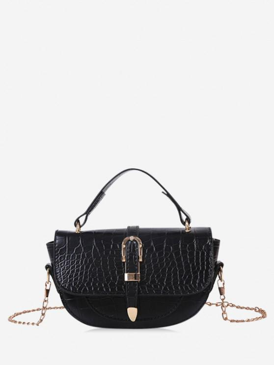 best Textured Chain Saddle Hand Bag - BLACK