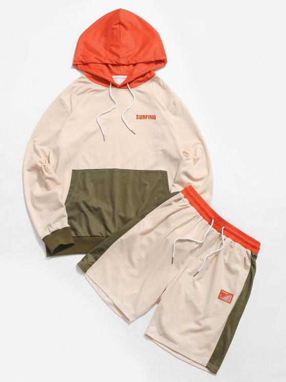 ZAFUL Letter Embroidered Contrast Hoodie and Shorts Two Piece Set - أصفر فاتح L