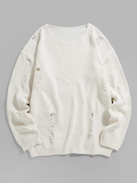 Einfacher Stilß Hängender Schulter Strickpullover - Weiß 2XL