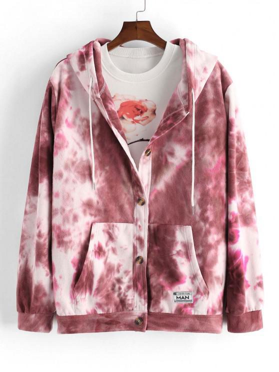 Tie Dye Print Button Up Hooded Fleece Jacket - أحمر عميق L