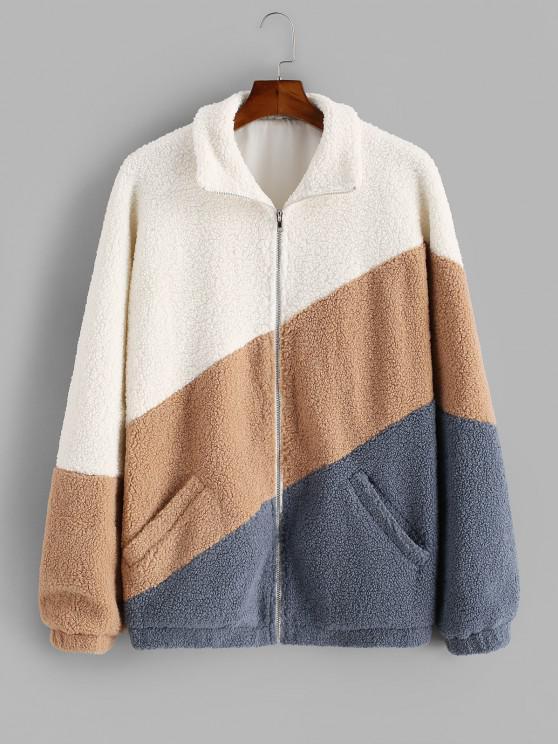Color Blocking Panel Raglan Sleeve Teddy Jacket - اصفر غامق XL