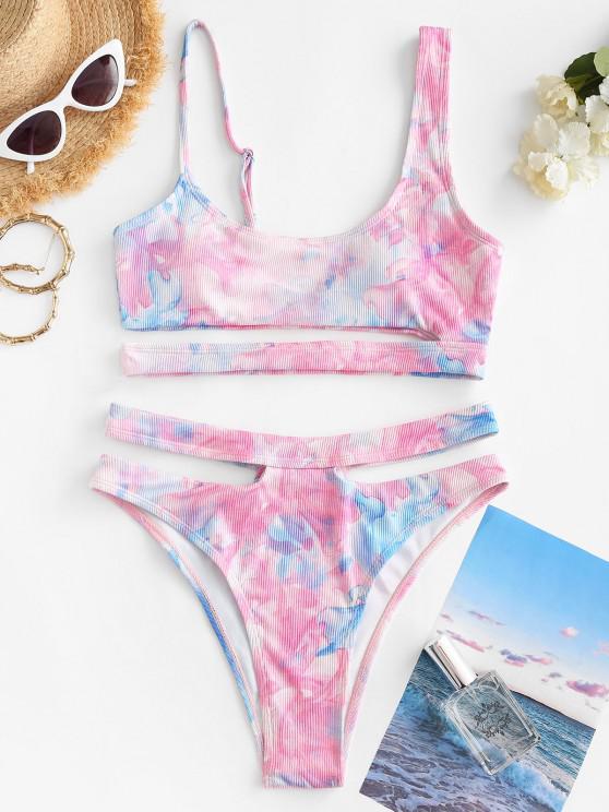 ZAFUL High Waisted Tie Dye Ribbed Tankini Swimwear - زهري M