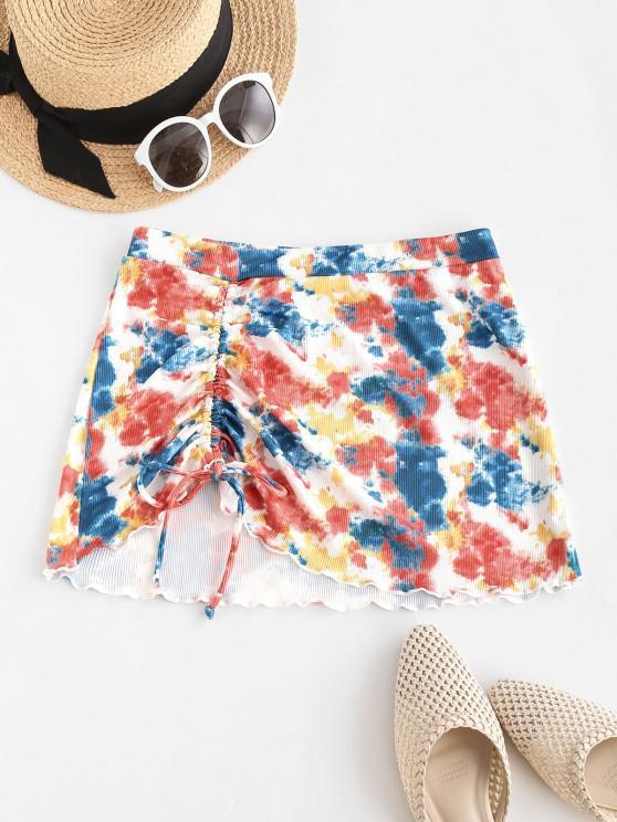 shops ZAFUL Tie Dye Cinched Ribbed Lettuce Trim Beach Skirt - MULTI S