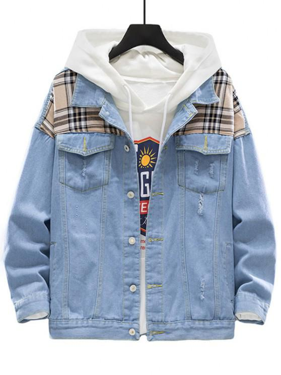 Plaid Patch Scratch Ripped Jean Jacket - أزرق فاتح 3XL