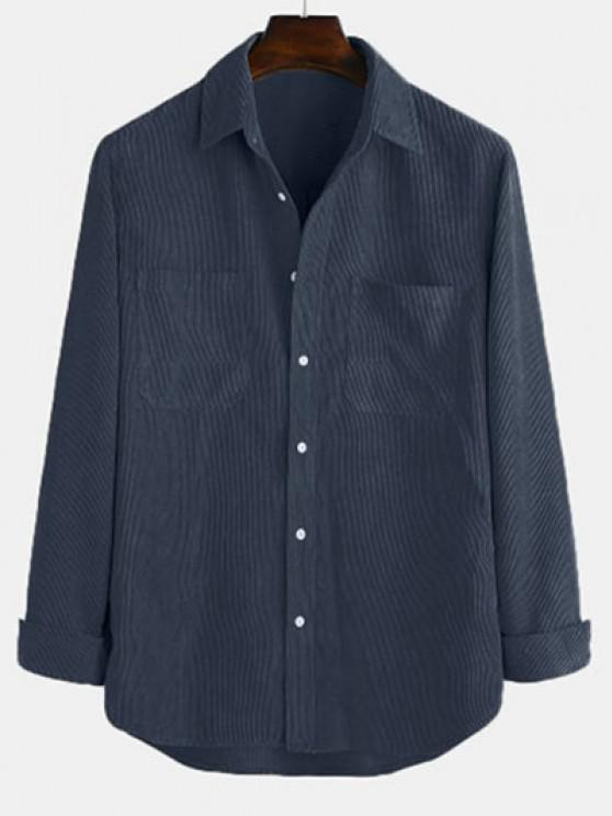Long Sleeve Solid Pocket Patch Shirt - ازرق غامق L