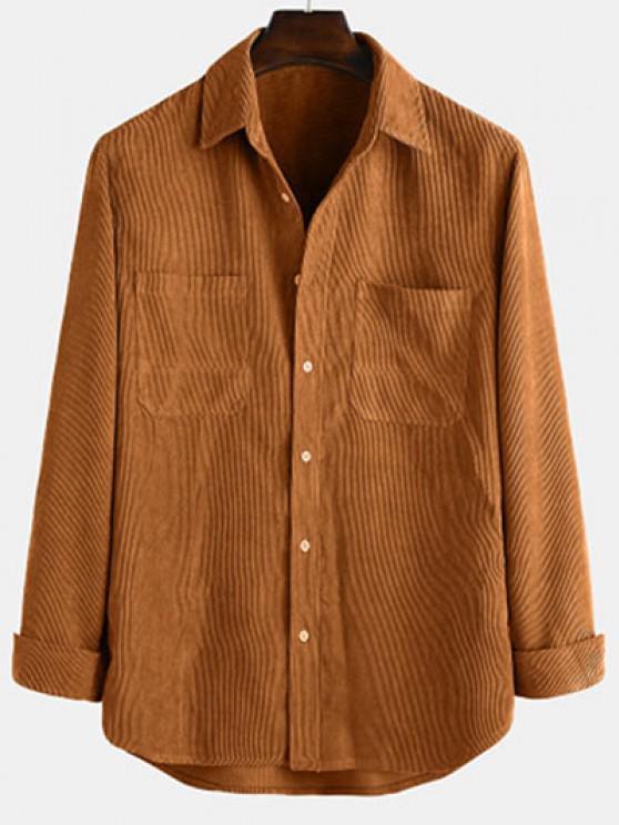 Langarm Einfarbiger Patch Hemd - Kaffee M