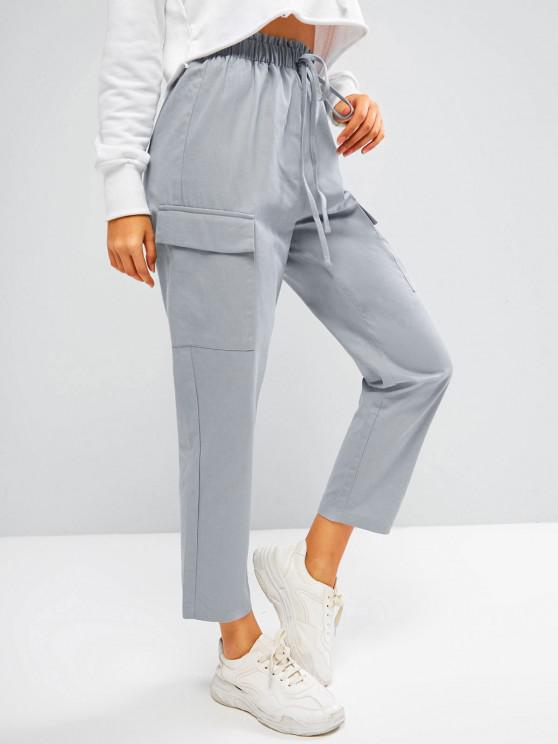 outfit ZAFUL Flap Pocket Frilled Tie Tapered Pants - LIGHT GRAY S
