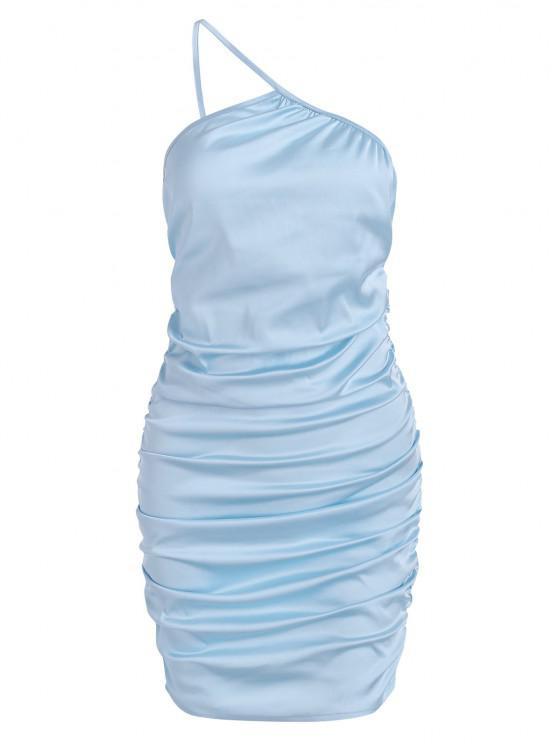lady ZAFUL One Shoulder Satin Gathered Side Mini Dress - LIGHT BLUE M
