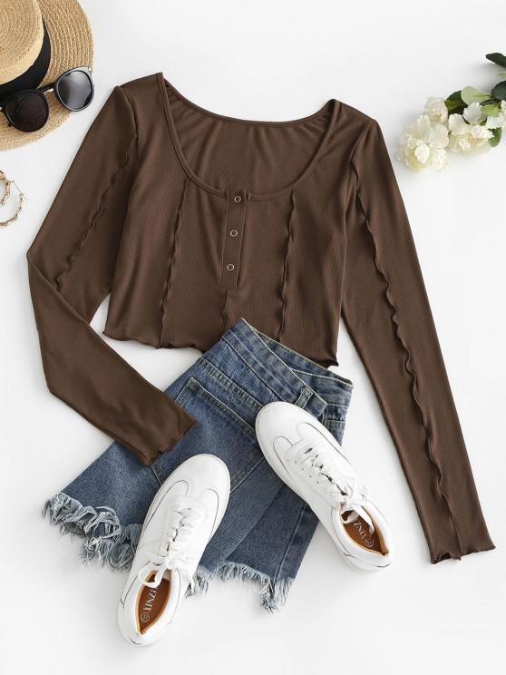 outfit ZAFUL Rib Knit Snap Button Topstitching T-shirt - MOCHA S