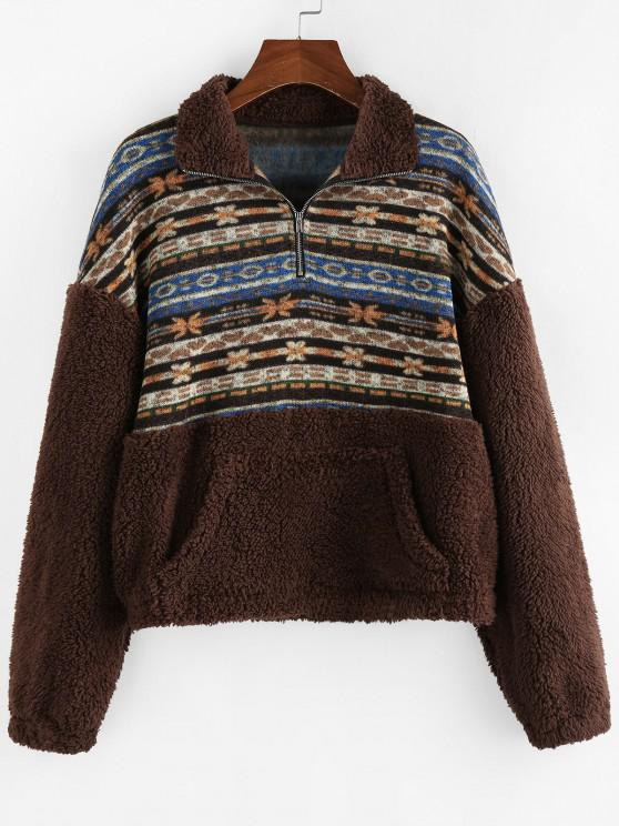 ZAFUL Ethnic Floral Print Zipper Teddy Sweatshirt - متعددة-A S
