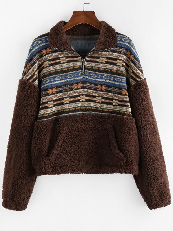 affordable ZAFUL Ethnic Floral Print Zipper Teddy Sweatshirt - MULTI-A M