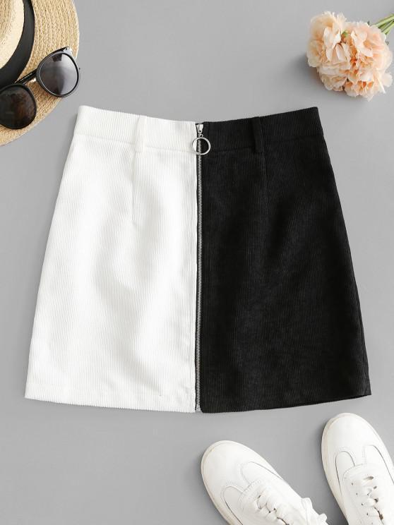 fashion ZAFUL Zip Up Two Tone Mini Corduroy Skirt - BLACK S