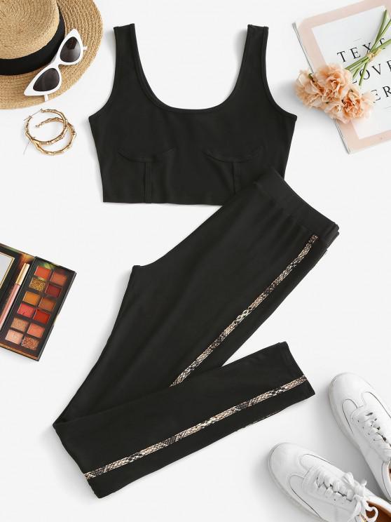 lady ZAFUL Snakeskin Tape Underbust Design Skinny Pants Set - BLACK L