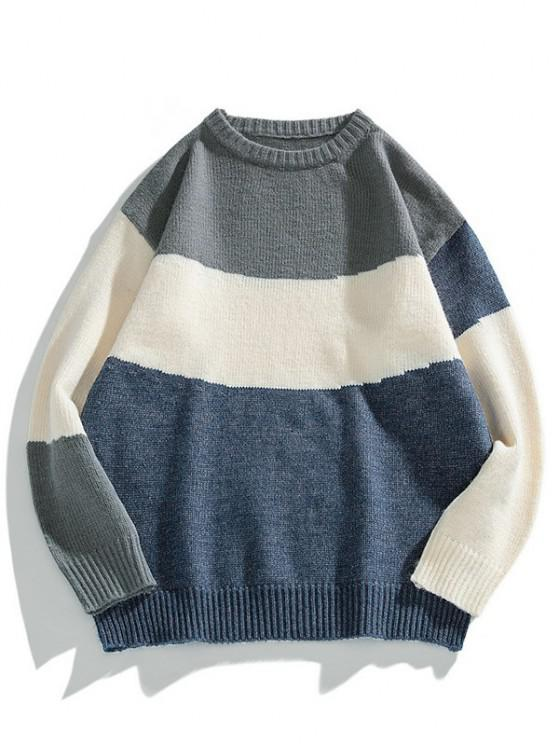 hot Color Blocking Panel Sweater - MIDNIGHT BLUE L