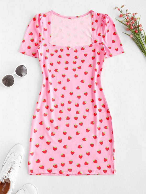 Strawberry Print Bowknot Bodycon Dress - وردي فاتح L