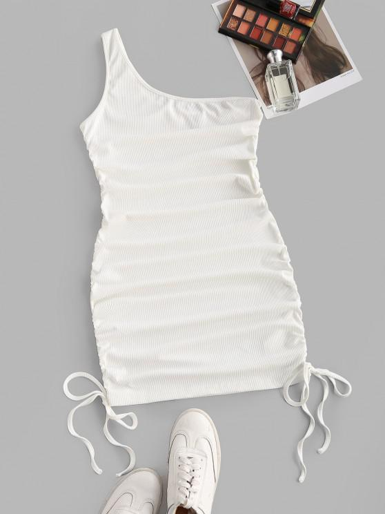 affordable ZAFUL One Shoulder Rib-knit Ruched Bodycon Dress - WHITE L