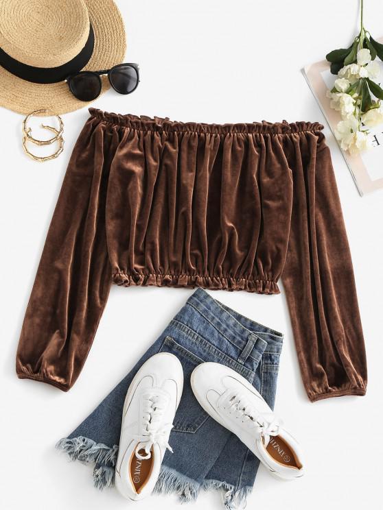 hot ZAFUL Ruffle Velvet Off Shoulder Crop T-shirt - PUCE S