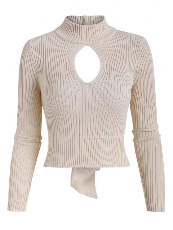 ladies Open Back Ribbed Tie Cut Out Knitwear - APRICOT ONE SIZE