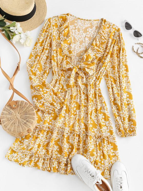 fancy Tie Front Floral Ruffles Long Sleeve Dress - DEEP YELLOW S