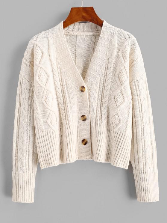 Cable Knit Drop Shoulder Cropped Cardigan - أبيض حجم واحد