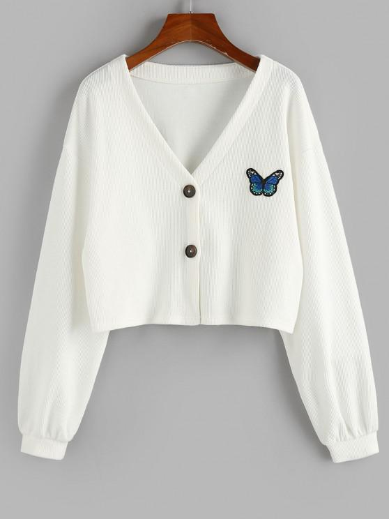 lady ZAFUL Ribbed Butterfly Applique Drop Shoulder Cardigan - WHITE M