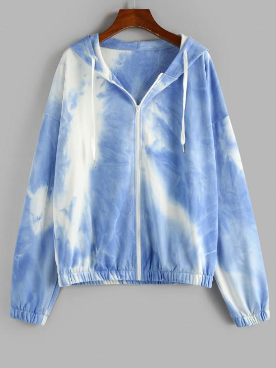 ZAFUL Tie Dye Drop Shoulder Zip Up Hoodie - أزرق فاتح M