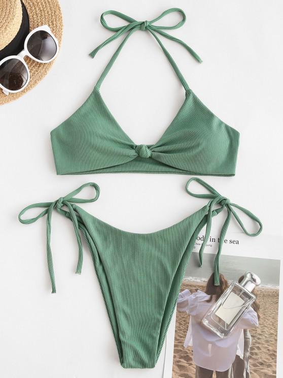 lady ZAFUL Ribbed Twisted Knot Tanga Bikini Swimwear - LIGHT GREEN M