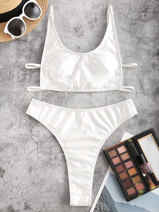 ZAFUL Strappy High Cut Glitter Snake Print Bikini Swimwear - أبيض S