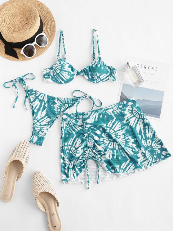 ZAFUL Ribbed Tie Dye Cinched Three Piece Bikini Swimwear - أزرق S