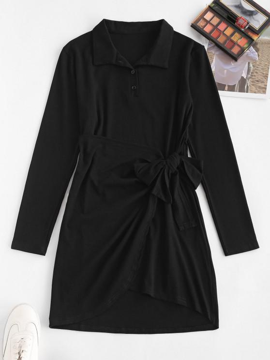 online Knotted Overlap Long Sleeve Henley Dress - BLACK S