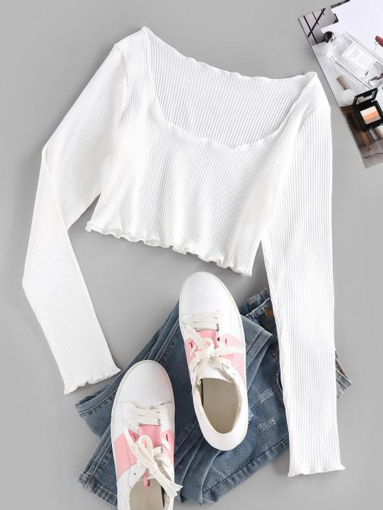 ZAFUL Ribbed Lettuce Trim Crop T-shirt - أبيض M