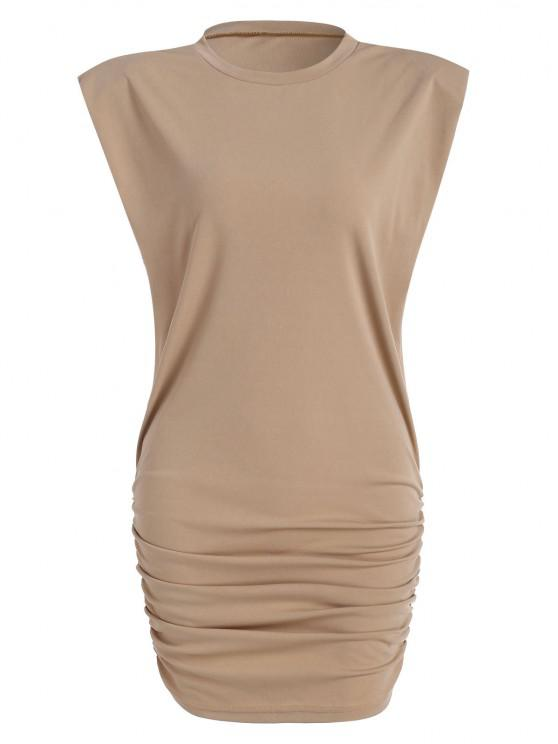 Gathered Side Padded Shoulder Bodycon Tank Dress - القهوة الخفيفة M
