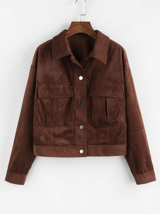 shops ZAFUL Drop Shoulder Corduroy Pocket Jacket - DEEP COFFEE M