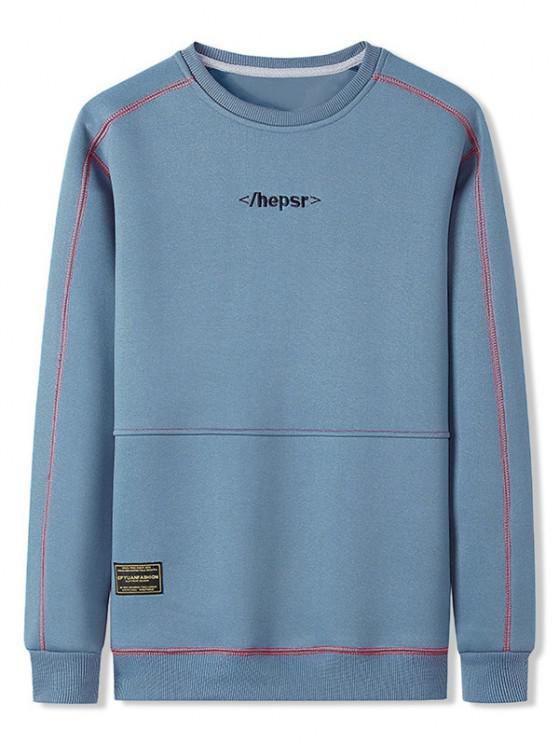 shop Contrast Stitching Crew Neck Lounge Sweatshirt - DAY SKY BLUE XL