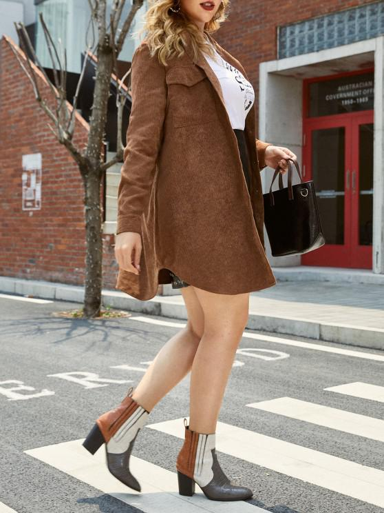 lady Plus Size Front Pockets Corduroy Coat - OAK BROWN L