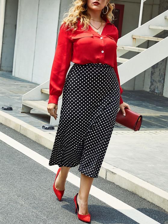 Plus Size Ruched V Neck Button Front Blouse - أحمر L