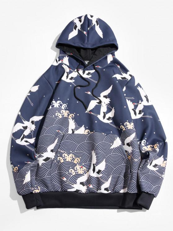 Seamless Wave Cranes Print Pouch Pocket Drawstring Hoodie - البحريه الزرقاء 2XL