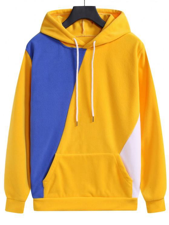 trendy Color Blocking Fleece Kangaroo Pocket Hoodie - RUBBER DUCKY YELLOW M