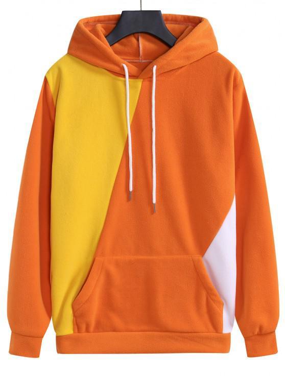 Color Blocking Fleece Kangaroo Pocket Hoodie - البابايا البرتقال 2XL