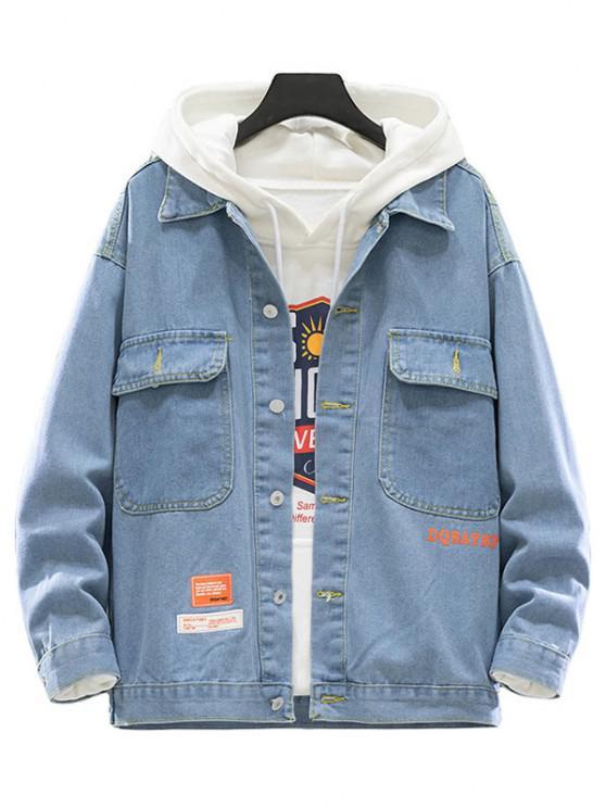 Jaqueta denim mangas longas vários bolsos lavagem de lixívia - Azul claro L