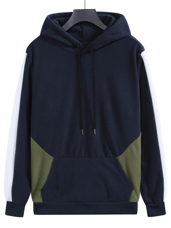 outfit Fleece Colorblock Panel Hoodie - MIDNIGHT BLUE L