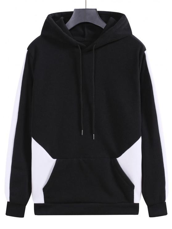 shop Fleece Colorblock Panel Hoodie - BLACK M
