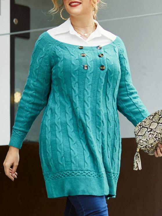 ladies Plus Size Cable Knit Mock Button Long Sweater - LIGHT BLUE 5X