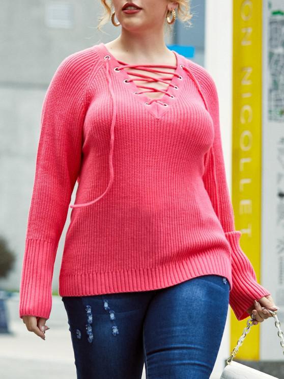 Plus Size Grommet Lace-up Raglan Sleeve Sweater - وردي فاتح 5X