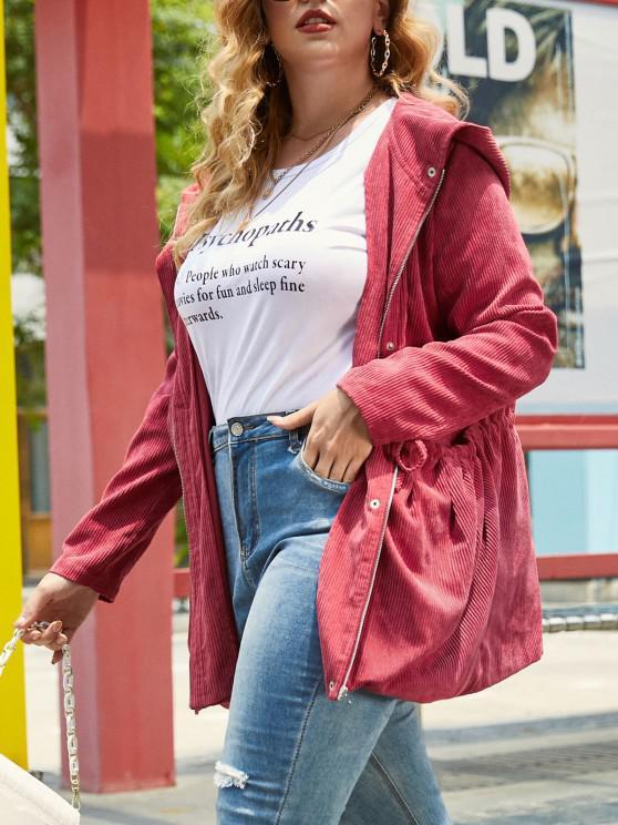 buy Plus Size Corduroy Hooded Zip Drawstring Waist Jacket - RED WINE L