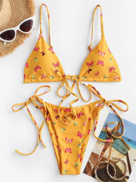 lady ZAFUL Butterfly Print Tie String Bikini Swimwear - SUN YELLOW M