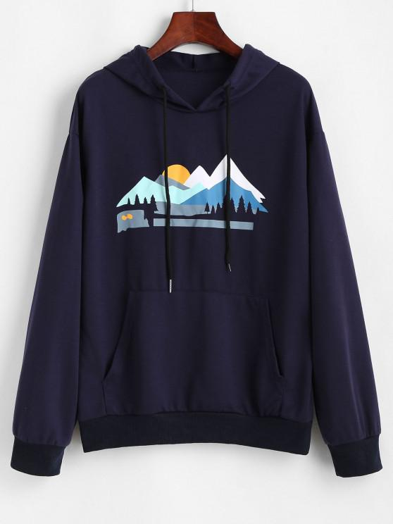 trendy Sunset Peak Print Front Pocket Hoodie - DEEP BLUE M