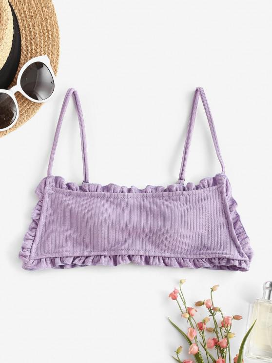 ladies ZAFUL Lettuce Ribbed Frilled Bikini Top - LIGHT PURPLE S
