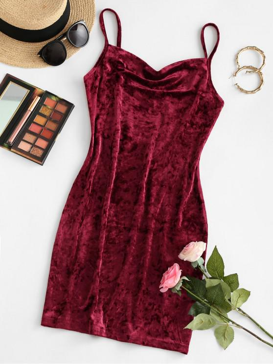 fashion ZAFUL Cowl Front Velvet Mini Dress - RED WINE S